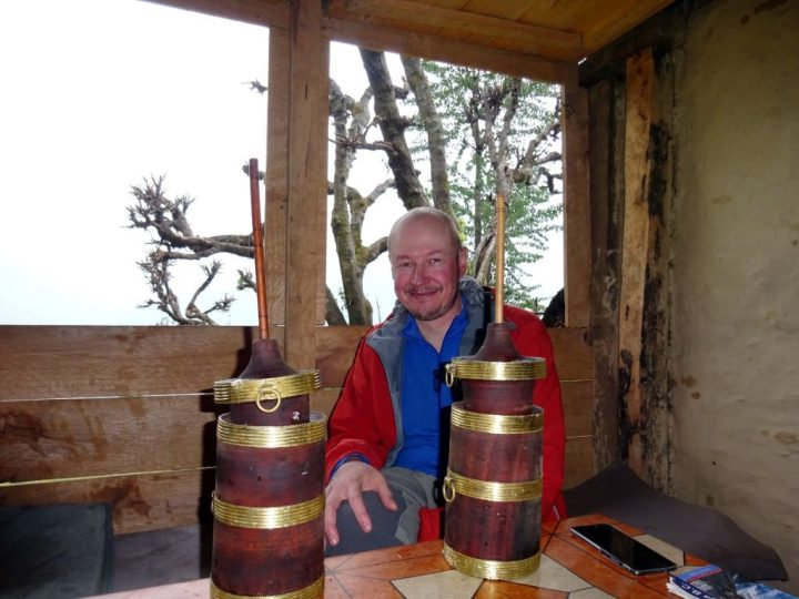 You're probably wondering what I'm doing with those two Buddhist prayer wheels, but I'm sorry to say they're mugs of tongba, the local fire water