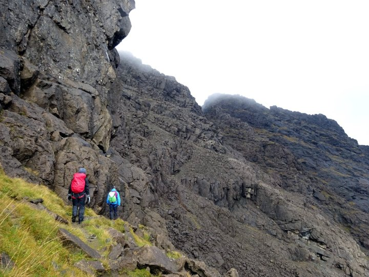 On the col beneath Sgurr nan Eag, with Sgurr Dubh Mor in cloud to the right