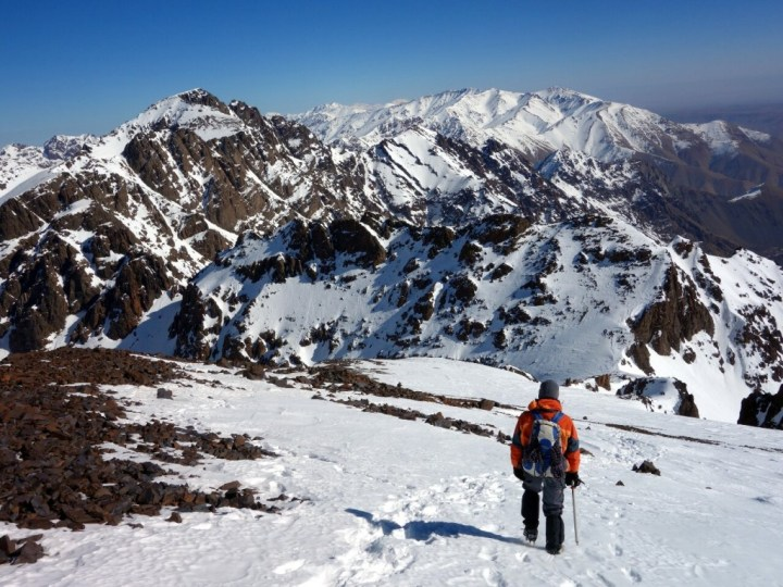 Descending from Ras n'Ouanoukrim with Toubkal up ahead