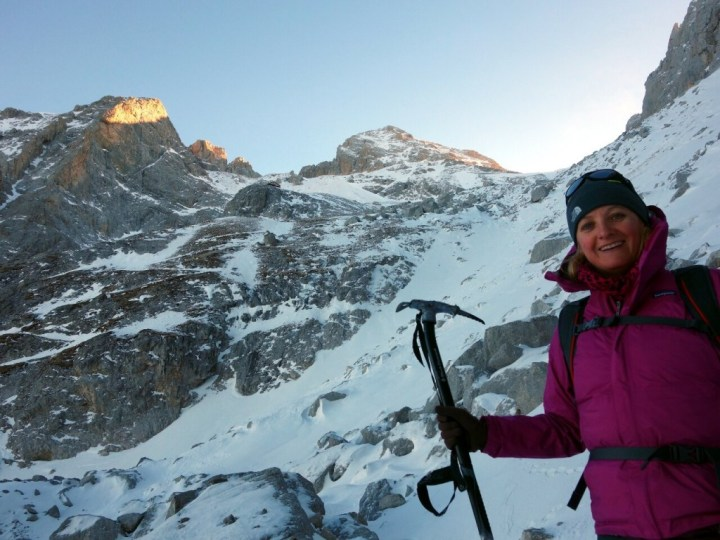 A happy Edita back down safely from Corno Grande after our adventure