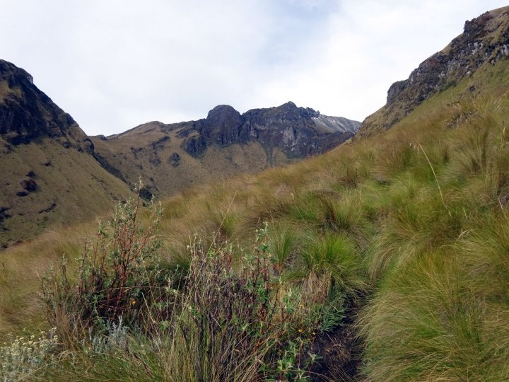 Looking into the eastern crater valley of Imbabura, with the summits rising above