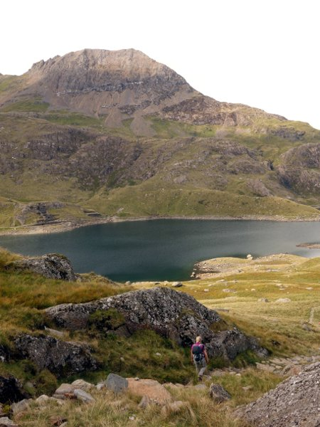Descending into Cwm Dyli, with Crib Goch seen across the waters of Llyn Llydaw