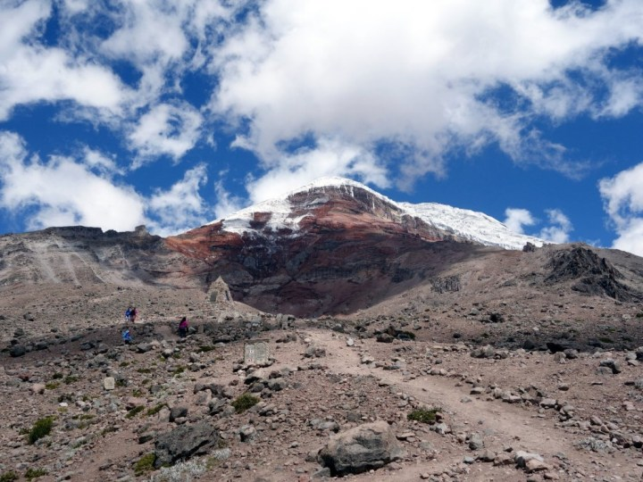 The red swirl of Chimborazo's west face from Refugio Carrel, with the west ridge (our route of ascent) on the left and Whymper's ridge on the right
