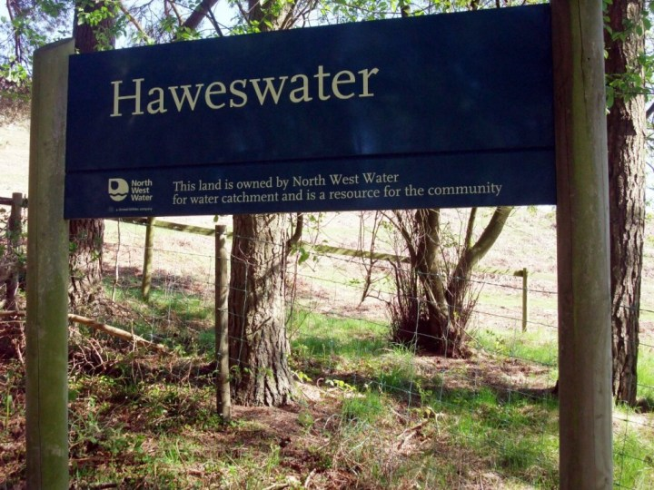 The North West Water sign at the eastern end of Haweswater is loaded with significance