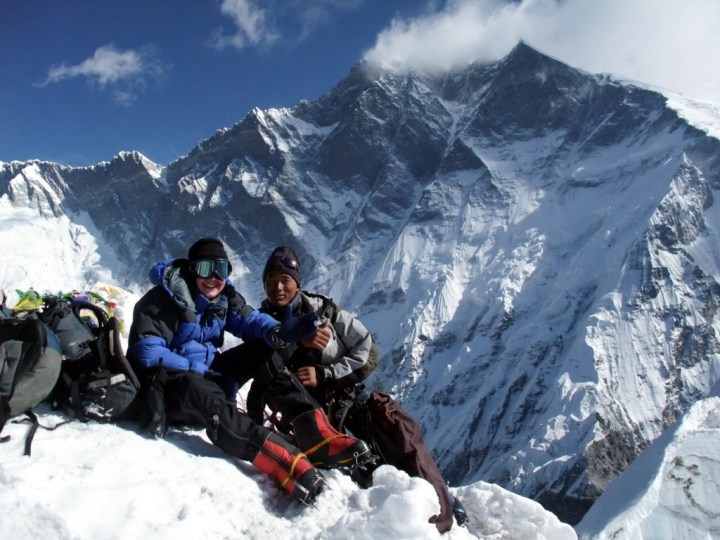 Here I am on the summit of Island Peak with climbing guide Dawa Bhote. As you can see, 8516m Lhotse towering behind us makes 6189m Island Peak seem a bit piddling.