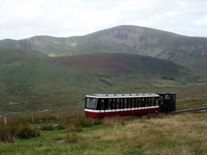 The Snowdon Mountain Railway, with Moel Eilio behind