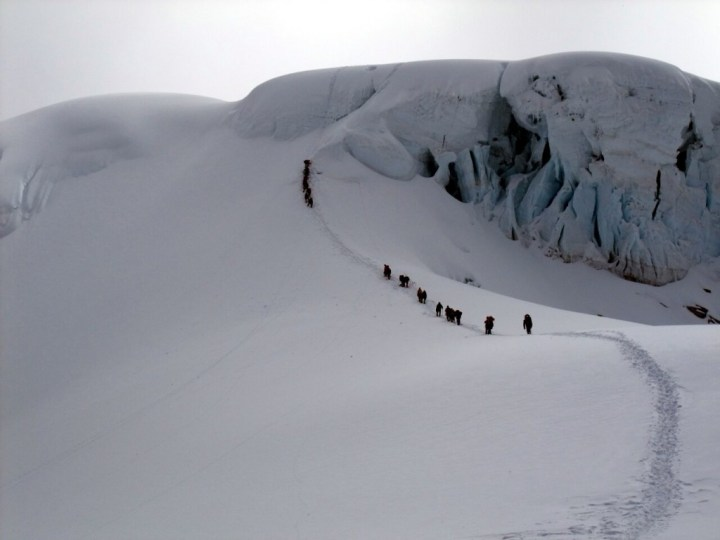Approaching the serac wall between Camp 1 and Camp 2 on Cho Oyu