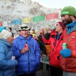 Alenka, Ron, Robert and Richard P enjoy some Lhasa beers at Cho Oyu base camp