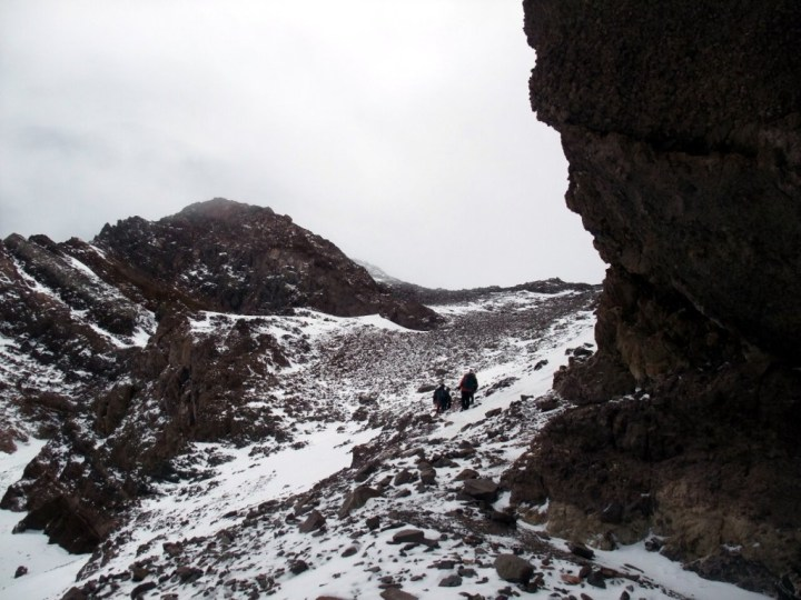 Looking up the Canaleta, a rocky gully leading to Aconcagua's summit ridge