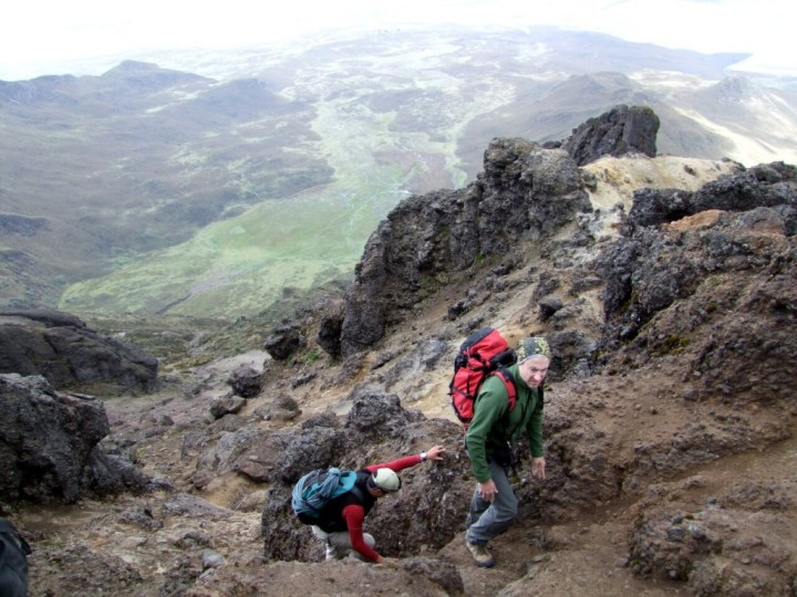 Many summits can be accessed by easy scrambles, such as here on Rumiñahui Central