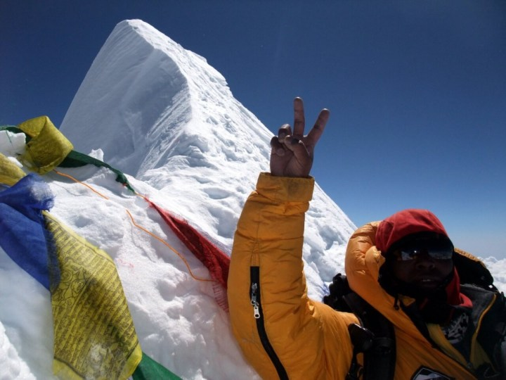 Chongba Sherpa on the summit of Manaslu on 5 October 2011