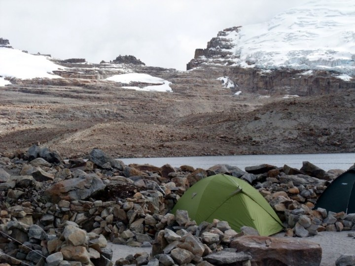 Bellavista in 2011. Most of the glacier spilling down from Pan de Azucar is gone, and Bellavista is bare rock.