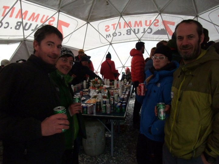 Ian, Margaret, Mila and Mark at the base camp party hosted by the Russian 7 Summits Club team