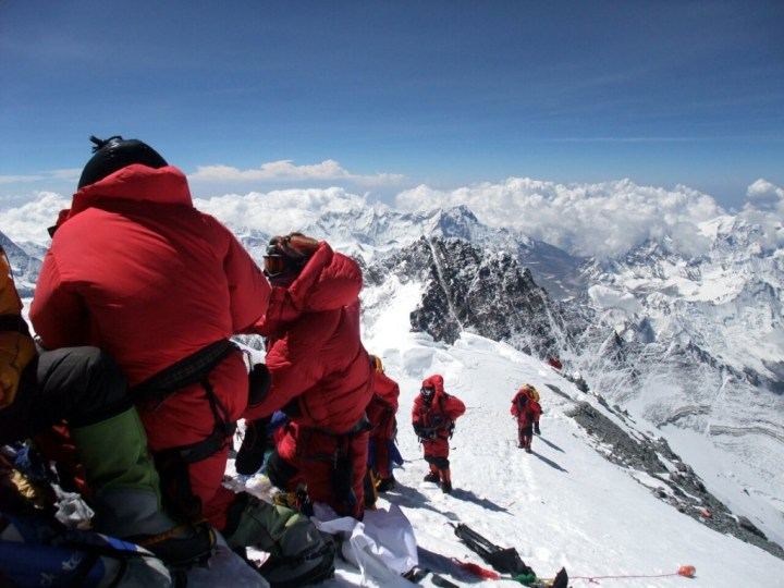 Climbers approach Everest's summit from the Southeast Ridge on May 19 this year