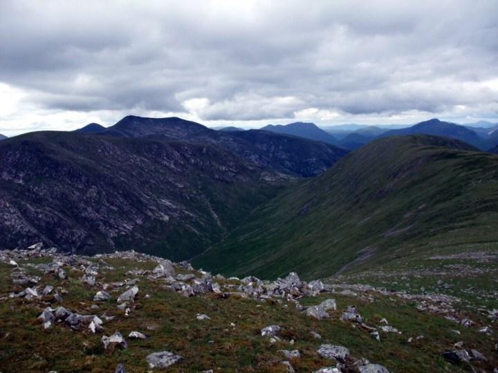 Coire Chaorach flanked by Meall nan Eun and the Bhruaich Leith Ridge