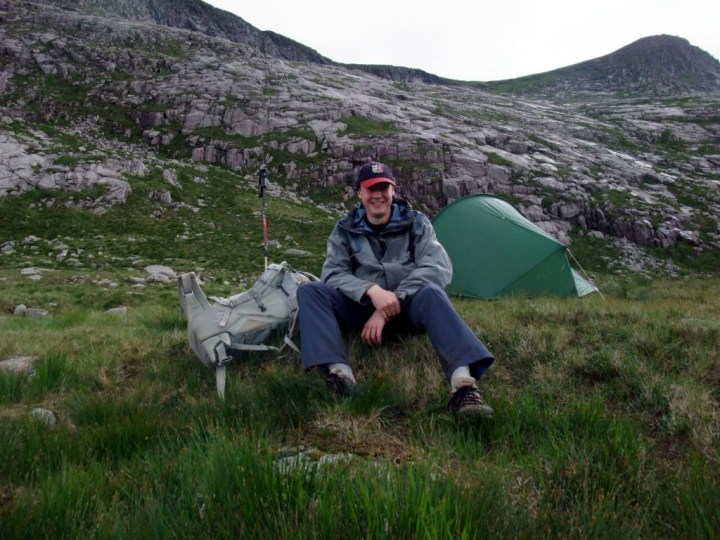 Resting in my wild camping spot at 750m after a long day