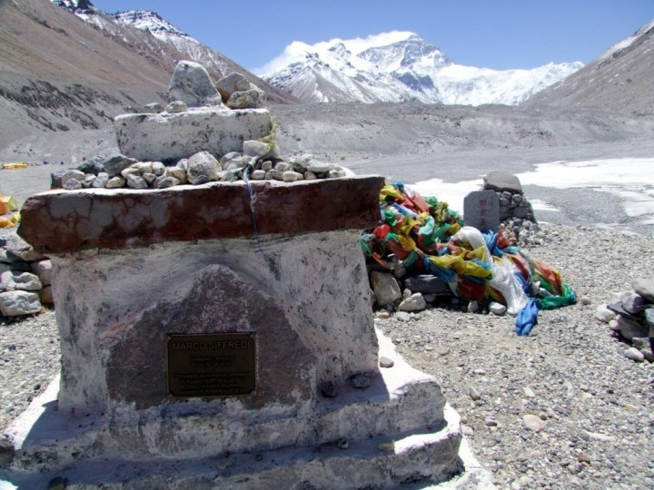 A potent recipe to produce another one of these: one of the many memorials at Everest Base Camp in Tibet, to climbers who have died on the mountain