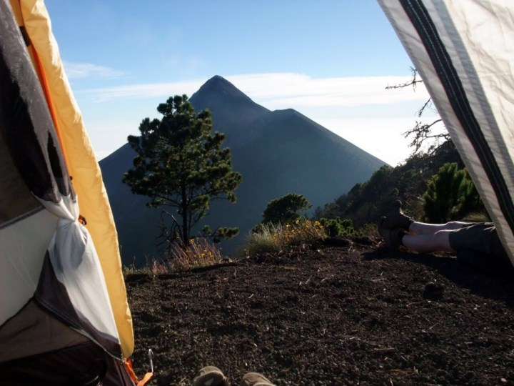 Our camp on Acatenango had a great view across to Fuego