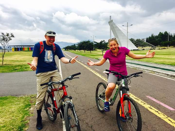 Edita and I try out our bikes on the old airport runway in Quito (Photo: Edita Nichols)