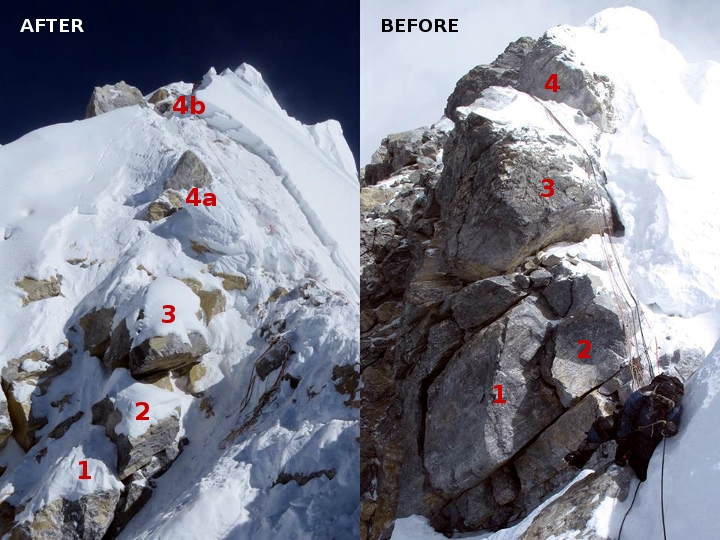 The Hillary Step this year (left), with the fixed rope leading up a straightforward snow slope between 4a and 4b; and the Hillary Step as it was previously (right) (Photos: David Liaño)