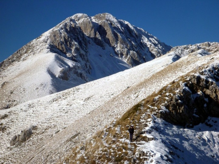 Monte Terminillo's north face provides alpine climbing with a series of steep couloirs