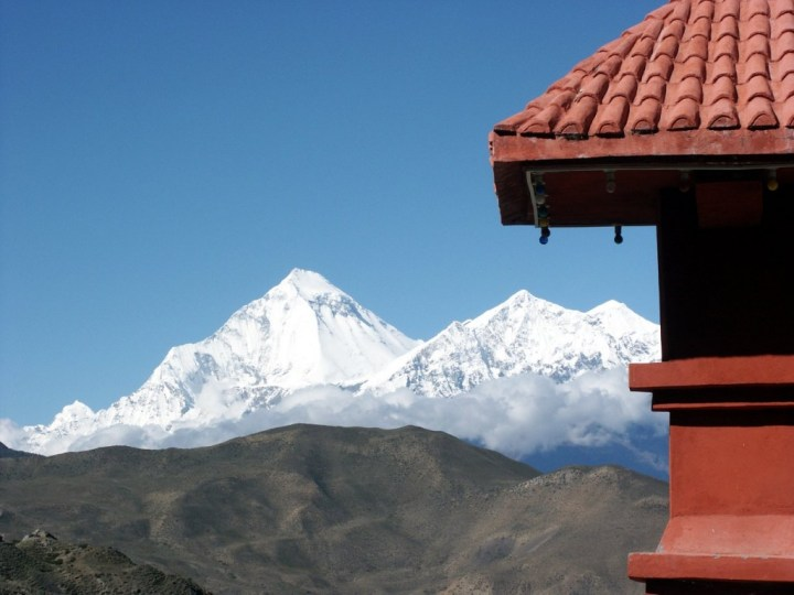 Dhaulagiri seen from the temple complex entrance at Muktinath