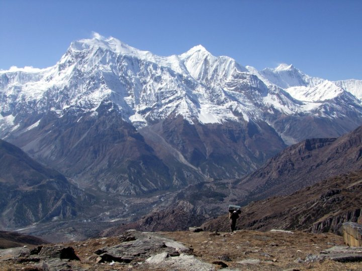 The view of the Annapurnas coming over the Kang La is one of the finest in the Himalayas