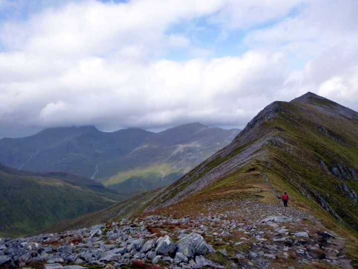 Approaching the summit of Binnein Mor, with Ben Nevis in cloud to the left