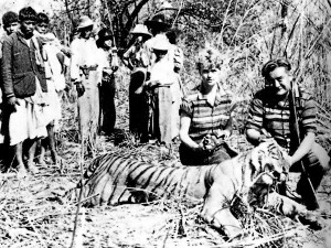 Disturbing picture of Boris and his wife Inger after shooting one of Nepal's critically endangered tigers