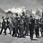 Chinese climbers' triumphant return to Base Camp following their successful first ascent of Everest by the North Ridge, 1960 (Photo: People's Physical Culture Publishing House, taken from the book Mountaineering in China, 1965)