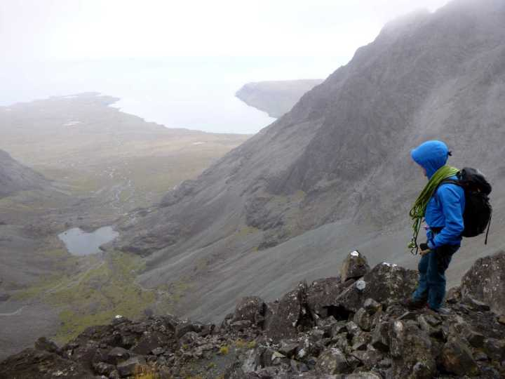 Dave contemplates the descent into Coire Lagan from the northern ridge of Sgurr Mhic Choinnich