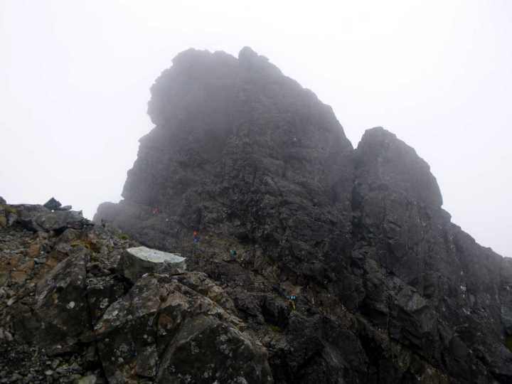 Figures on Collie's Ledge, with the southern cliffs of Sgurr Mhic Choinnich rising above them