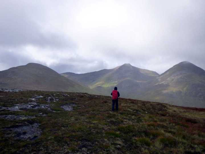 The three Munros of Sgurr Eilde Mor (1,010m), Binnein Mor (1,130m) and Binnein Beag (943m) from Meall Doire na h-Achlais