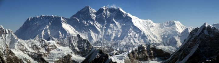 Panorama of Nuptse, Everest and Lhotse from Mera Central
