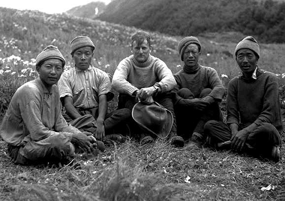 Frank Smythe in the Valley of Flowers with his four Sherpa companions Nurbu, Tewang, Wangdi and Pasang (Photo: Tony Smythe)
