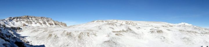 View into the outer crater from Gillman's Point, with Uhuru Peak on the left