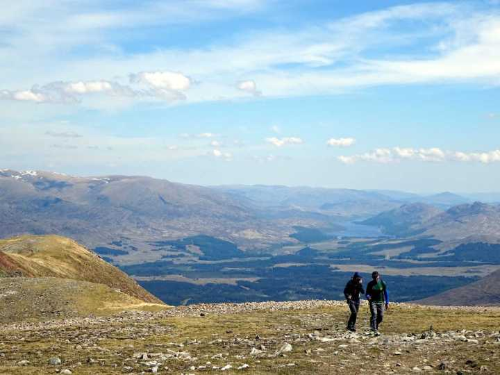 On the main ridge of the Easains, with the broad, forested valley of Glen Spean down below