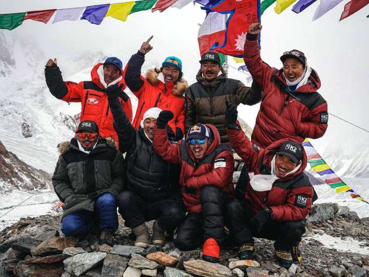 Nims Purja and his team of Sherpa climbers at K2 base camp (Photo: Nirmal Purja / Facebook)
