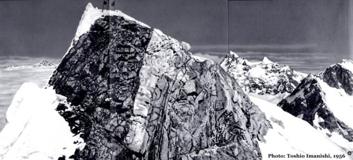 The summit of Manaslu in 1956, with Ganesh, Himalchuli and Peak 29 on the horizon behind (Photo: Toshio Imanishi)