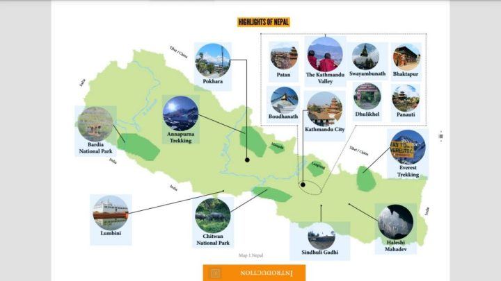 One of the many interactive maps in the Nepal guidebook. This is an image map that enables you to click on individual images to jump across to the relevant section of the guide.