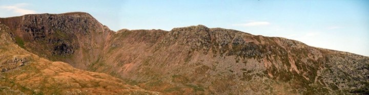 Panorama of Helvellyn (950m) and Striding Edge seen across Grisedale from Deepdale Hause