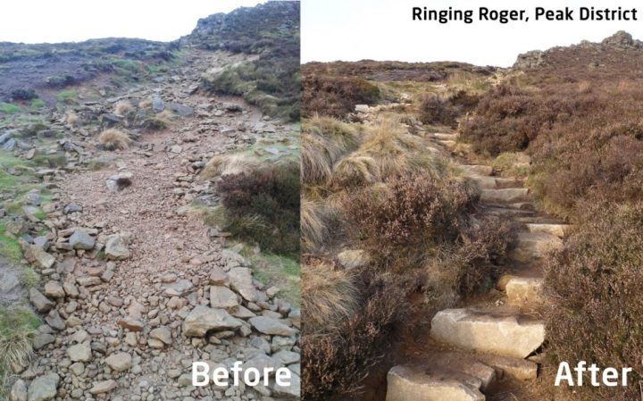When trails are maintained - before and after shots of Ringing Roger in the Peak District (Photo: BMC Mend Our Mountains)