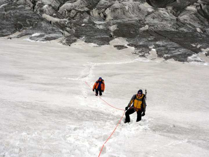 Robert Anderson (right) with our Russian guide Andrei during an acclimatisation hike on Peak Lenin