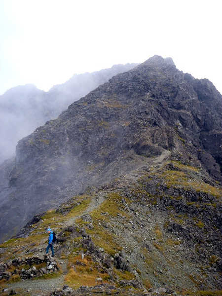 The ridge to Sgurr a Ghreadaidh from the col beyond the Three Teeth, with a sumptuous bivy site in the foreground