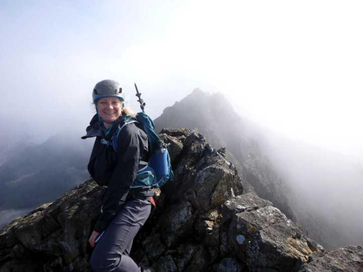 Edita on the summit of Sgurr a Ghreadaidh (973m) with the South Top behind