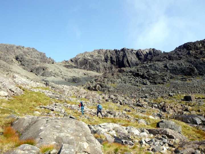 The cliffs of Sgurr Alasdair loom above Coir a' Ghrunnda