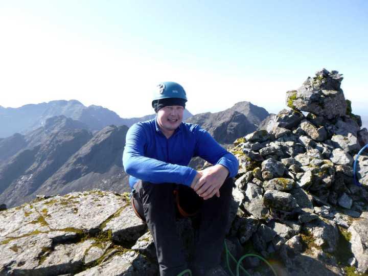 Me on the summit of Sgurr nan Gillean, with Sgurr a Ghreadaidh and Bruach na Frithe on the far horizon