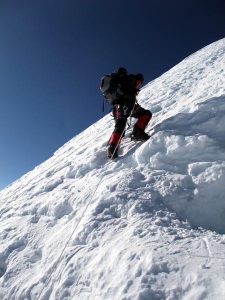 Mark Dickson climbing the summit dome of Mera Peak, hardly a walk-up