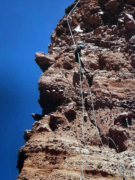 Doug Scott's photo of the crumbling face of Tieroko from his book Himalayan Climber
