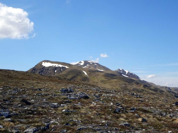 The Easains from Meall Cian Dearg with Stob a'Choire Mheadhoin (middle) and Stob Coire Easain (right)